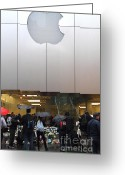 Iphones Greeting Cards - RIP Steve Jobs . October 5 2011 . San Francisco Apple Store Memorial 7DIMG8567 Greeting Card by Wingsdomain Art and Photography