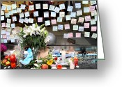 Iphones Greeting Cards - RIP Steve Jobs . October 5 2011 . San Francisco Apple Store Memorial 7DIMG8574 Greeting Card by Wingsdomain Art and Photography