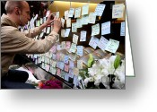 Iphones Greeting Cards - RIP Steve Jobs . October 5 2011 . San Francisco Apple Store Memorial 7DIMG8576 Greeting Card by Wingsdomain Art and Photography
