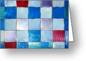 Light Aqua Greeting Cards - Ripple Tiles Greeting Card by Carlos Caetano