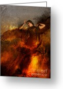 Fire Greeting Cards - Rise Greeting Card by Silas Toball