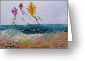 Kites Drawings Greeting Cards - Rising Above the Dune Greeting Card by John  Williams