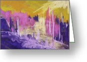 Expression Pastels Greeting Cards - Rising Against Yellow Greeting Card by John  Williams