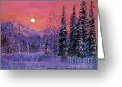 Most Painting Greeting Cards - Rising Snow Moon Greeting Card by David Lloyd Glover
