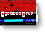 Soccer Stadium Greeting Cards - Rising Sun over empty seats Greeting Card by David Bearden