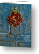 Red Door Greeting Cards - Ristra on a Blue Door Greeting Card by Dusty Demerson