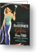 Femme Fatale Greeting Cards - Rita Hayworth as Gilda Greeting Card by Nomad Art and  Design