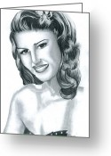 Hayworth Greeting Cards - Rita Hayworth Greeting Card by Crystal Rosene