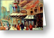 Winter Photos Painting Greeting Cards - Ritz Carlton Montreal Cityscenes  Greeting Card by Carole Spandau