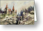 Castle Painting Greeting Cards - Ritzenberg Castle Greeting Card by Sam Sidders