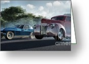 Antique Cars Greeting Cards - Rivals Greeting Card by Richard Rizzo