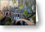 Knights Castle Painting Greeting Cards - Rivendell Greeting Card by Eel Eye