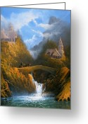 Bill The Pony Greeting Cards - Rivendell The Lord Of The Rings Tolkien inspired art   Greeting Card by Joe  Gilronan