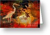 Egret Digital Art Greeting Cards - River Bird Greeting Card by Robert Ball