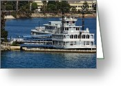 Stylized Art Greeting Cards - River Boat at San Diego Greeting Card by Linda Phelps