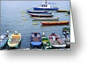 Twilight Greeting Cards - River boats on Danube Greeting Card by Elena Elisseeva
