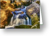 Yellow Trees Greeting Cards - River Flows 04 Greeting Card by Svetlana Sewell