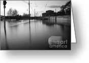 Screen Doors Greeting Cards - River in street Greeting Card by Odon Czintos