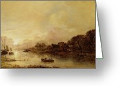 Anglers Greeting Cards - River landscape  Greeting Card by Aert van der Neer