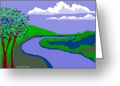 Happy Texas Artist Greeting Cards - River Landscape Greeting Card by Fred Jinkins