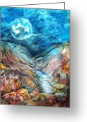 Rocks Prints Mixed Media Greeting Cards - River of Souls Greeting Card by Patricia Allingham Carlson