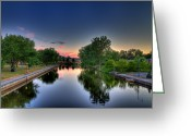 City Scapes Framed Prints Greeting Cards - River or Harbour Greeting Card by John Herzog