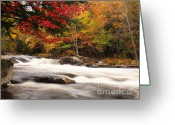 Autumn Scenes Greeting Cards - River Rapids Fall Nature Scenery Greeting Card by Oleksiy Maksymenko
