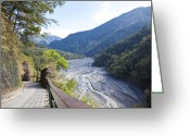 Bannister Tapestries Textiles Greeting Cards - River, Road, Nantou, Taiwan, Asia, Greeting Card by IMAGEMORE Co, Ltd.