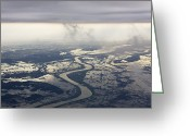 Flooding Greeting Cards - River Running through a Flooded Countryside Greeting Card by Jeremy Woodhouse