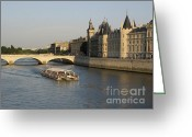 Sight Seeing Greeting Cards - River Seine and Conciergerie. Paris Greeting Card by Bernard Jaubert