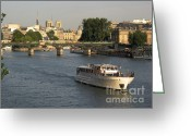 Notre Dame Greeting Cards - River Seine in Paris Greeting Card by Bernard Jaubert