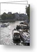Ile De France Greeting Cards - River Seine. Paris Greeting Card by Bernard Jaubert