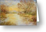 Autumn Landscape Pastels Greeting Cards - River Sunrise  Greeting Card by Barbara Smeaton