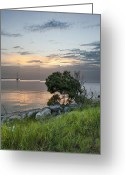 Melbourne Beach Greeting Cards - River Sunset Greeting Card by Cheryl Davis