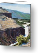 Yellowstone Landscape Art Greeting Cards - River Through the Canyon Greeting Card by Sarah Grangier