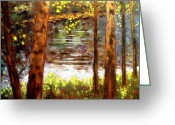 Forest Pastels Greeting Cards - River Trees Greeting Card by John  Nolan