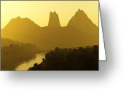 Gold Mountain Mixed Media Greeting Cards - River Valley Greeting Card by Svetlana Sewell