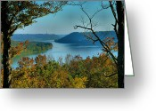 Indiana Autumn Photo Greeting Cards - River View I Greeting Card by Steven Ainsworth