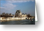 River. Clouds Greeting Cards - River View in Paris Greeting Card by John Rizzuto