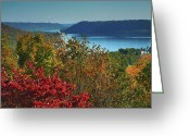 Indiana Autumn Photo Greeting Cards - River View V Greeting Card by Steven Ainsworth