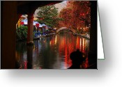 Christmas Lights Greeting Cards - River Walk Christmas Lights Greeting Card by Iris Greenwell