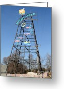 Tong River Greeting Cards - River Walk Tower Sign in West Sacramento California . 7D11400 Greeting Card by Wingsdomain Art and Photography