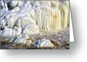 Rural Greeting Cards - River Wall of Snow and Ice Greeting Card by Bob Orsillo