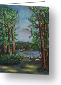 Greens Framed Prints Greeting Cards - Riverbend Park Greeting Card by Karen Francis