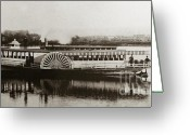 Wyoming Greeting Cards - Riverboat  Mayflower of Plymouth   Susquehanna River near Wilkes Barre Pennsylvania late 1800s Greeting Card by Arthur Miller