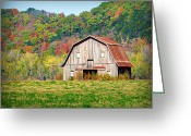"\\\\\\\""boone County Photo Greeting Cards - Riverbottom Barn in Fall Greeting Card by Cricket Hackmann"