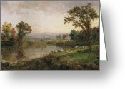 Flock Greeting Cards - Riverscape in Early Autumn Greeting Card by Jasper Francis Cropsey