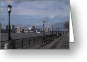 Park Benches Greeting Cards - Riverside Park NYC II Greeting Card by Henri Irizarri