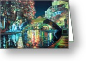 Urban Painting Greeting Cards - Riverwalk Greeting Card by Baron Dixon