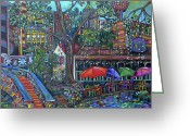 Buildings Painting Greeting Cards - Riverwalk Greeting Card by Patti Schermerhorn